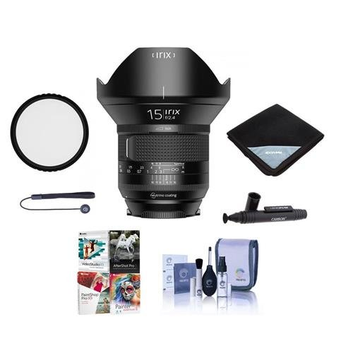 Irix 15mm f/2.4 Firefly Lens for Canon EOS DSLR Cameras - Manual Focus - Bundle with 95mm Uv Filter, Lens Wrap (19x19), Cleaning Kit, Capleash II, Lens Pen Lens Cleaner, Software Package