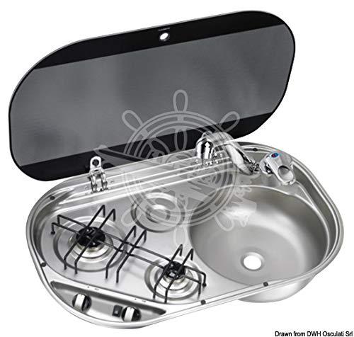 Osculati 2-pits kookplaat met getint glazen deksel