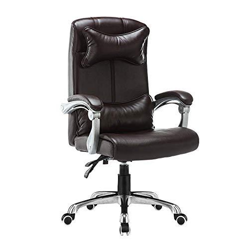 WSDSX Stuhl Computer Stuhl Leder Schreibtisch Gaming Stuhl Höhe höhenverstellbar Ergonomisch Hochlehner Büro Computer Stuhl mit Kopfstütze und Lordosenstütze für Büro Besprechungsraum, Kaffee