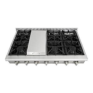 "48"" Gas Rangetop Cover NG/LPG Fuel 6 Burners Stove 7 Control Knobs HRT4806U"