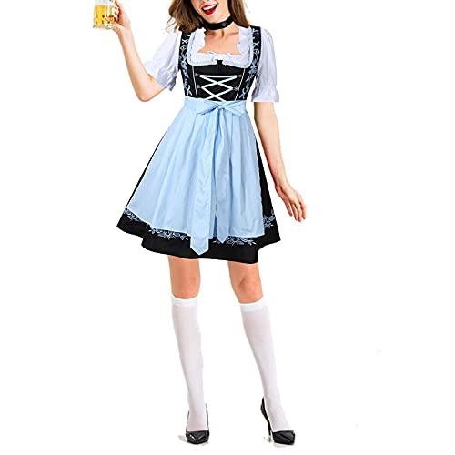 Briskorry Damen Bier Oktoberfest Trachtenkleid Kleid Midi Dirndl Bluse Mädchen Halloween Cosplay Charakter Deutsches Bierfest Kostüm Outfit