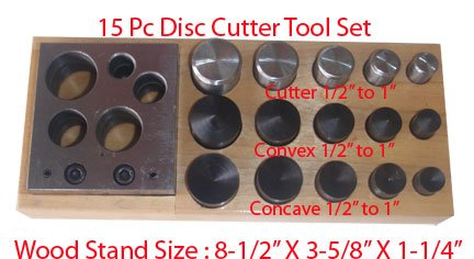 15 PC Convex Concave Disc Cutter Punch 1/2