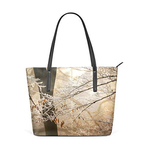 TIKISMILE - Bolso de mano de piel sintética para mujer, diseño de árbol otoñal