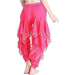 Dark Pink Tribal Arabic Halloween Pants with Gold Trim