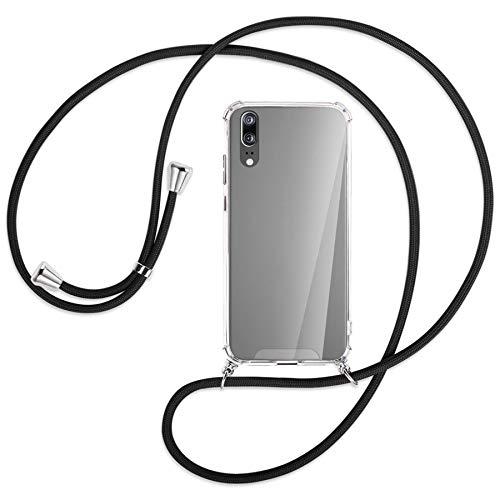 mtb more energy® Handykette kompatibel mit Huawei P20 (5.8'') - schwarz - Smartphone Hülle zum Umhängen - Anti Shock Strong TPU Case