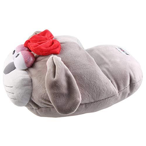 SAMs Damen Fußwärmer Hausschuhe Katze, Hellgrau, TH-Ka