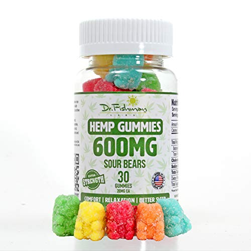 Dr. Fishman Labs Organic Hemp Gummies, Premium Natural Extract with Delicious Sour Fruit Flavors, Help Relieve Stress, Anxiety and Pain, Improve Sleep and Reduce Inflammation, Omega 3,6,9, Real 600mg,