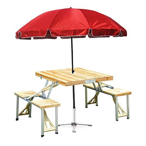 Lj Ff Klappbarer Picknicktisch, Tragbarer Tisch Im Freien Mit Sonnenschirm Und Sitzgelegenheiten Für 4 Personen, Camping Barbecue Angeltisch Für Picknick Camp Beach Fishing Bbq Party