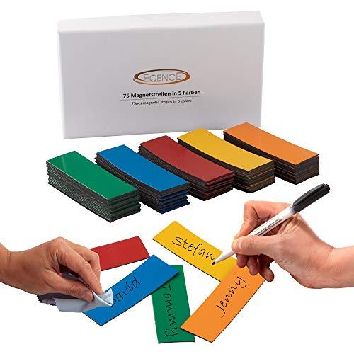 ECENCE 75 Étiquettes magnétiques inscriptibles, de 60x20mm, en multi-coloured et découpables. Étiquettes magnétiques effaçables. Étiquettes magnétiques pour tableaux blancs, réfrigérateurs, e