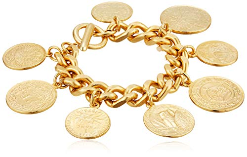 Ben-Amun Jewelry Moroccan Coin Charms Jewelry 24K Gold Plated Vintage Fashion Womens, Hand Made in New York, USA, Eastern Coin Bracelet, One Size (50402)