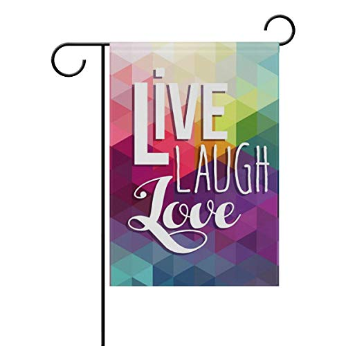 YATELI Dekorative Hallo Willkommen Leben Lachen Liebe Positive Zitat Zitate Garten Hof Flagge Banner Double Side Print 40 x 28 \\u0026 12 x 18 Zoll