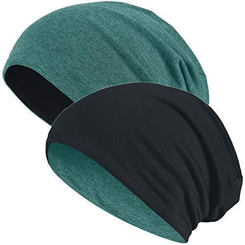 Hatstar 2in1 Reversible Damen Beanie   Damen und Herren Mütze   Wintermütze   weich & warm (grün meliert/schwarz)