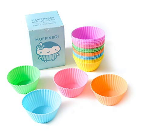 Muffinboi by XNM Creations, Premium Grade Silicone Cupcake and Muffin Liner Molds Baking Cups (Pastel), Pack of 24