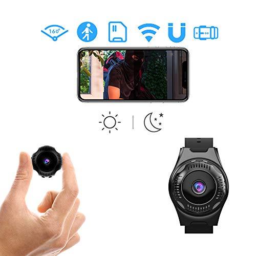 QLYFZ - Cámara espía con wifi oculto, mini cámara de vigilancia de seguridad 1080P Full HD inalámbrica, micro pequeña cámara espía con aplicación para el hogar, interior y exterior, portátil para niñera, visión nocturna, detección de movimiento