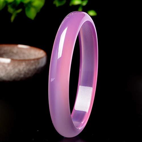LYY Natural Jade Pulseras Brazalete para Mujer Fengshui Calcedonia de Hielo Rosa para Casarse, Regalos de CumpleañOs,60mm