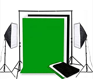 Photo Studio Background Support & White Black Green Screen Softbox Lighting Kit