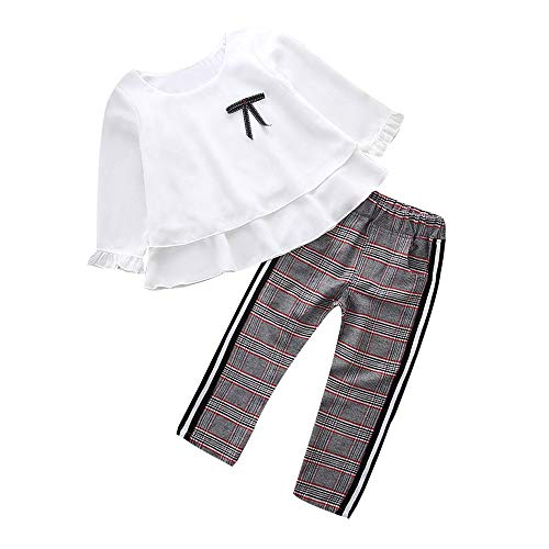 TTLOVE Kleinkind Baby Kinder MäDchen Outfits RüSchen T-Shirt Tops + Karierte Hose Kleidung Set Winter New England Gitter-College-MäDchen Der Eingestellt(Weiß,100)