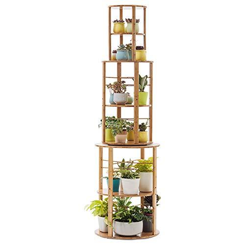 Rotation de 360 ° support à fleurs support en bambou multicouche étagère de pot de fleur de plante succulente pour intérieur extérieur, 50x175cm