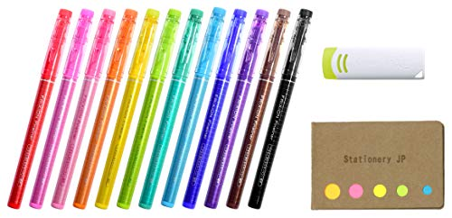 Pilot Frixion Fineliner Erasable Marker Extra Fine Point 12 Colors, FriXion Eraser, Sticky Notes Value Set