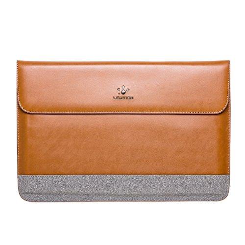 lention Funda de Split Leather para MacBook Air 11 / MacBook 12 / Surface Pro, PU Bolsa de Transporte Premium con broches magnéticos para laptops y tabletas de 11-12 Pulgadas (Marrón con Gris)