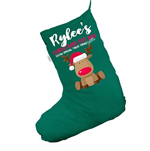 Personalizzato Blue Baby' s first Christmas Jumbo verde calza di Natale