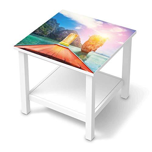 creatisto Möbeltattoo passend für IKEA Hemnes Beistelltisch 55x55 cm I Möbelaufkleber - Möbel-Folie Tattoo Sticker I Wohn Deko Ideen für Esszimmer, Wohnzimmer - Design: Blue Water Lagoon