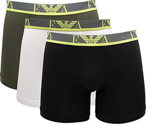 Emporio Armani Underwear Mens 3-Pack Monogram Boxer Shorts, Military/White/Black, L