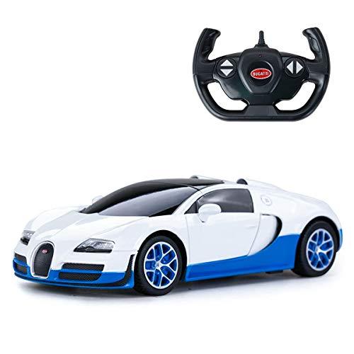 ADOV RC Coche, 1/18 Bugatti Veyron 16.4 Grand Sport Vitesse Electrico Coche de Control Remoto con Licencia Oficial, Vehículo de Juguete Juegos para Niños, Regalo Divertido Adolescente – Blanco