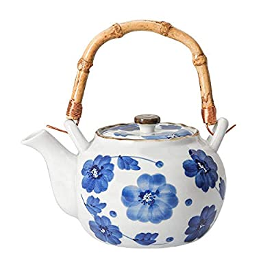 Ceramic Tea pot - Teapot with Infuser and Bamboo Handle - Japanese tea pots - Blue Porcelain teapots with Strainer for Making Blooming and Loose Leaf Tea (750ml)