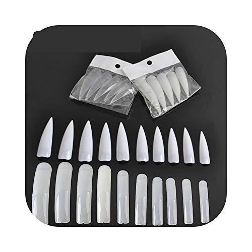 3D Faux Ongles Stilettos Naturels Sharp Nail Art Acrylique Faux Conseils Outils Set 500 Pcs/sac
