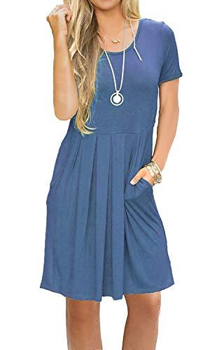 AUSELILY Vestido Informal de Manga Corta con Pliegues Sueltos y Manga Larga para Mujer (Beja Azul, EU 40-42)