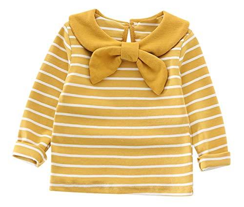 LOTUCY Baby Girl camiseta polo gola Peter Pan roupas infantis listradas tops bonito laço manga longa básica simples, Amarelo, 18-24M/Tag100