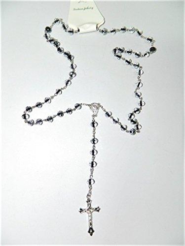 Chapelet en verre incolore avec des nuances noir et crucifix croix taille à facette