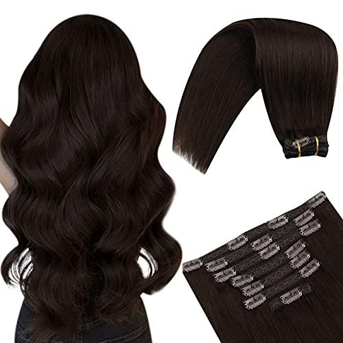 YoungSee Extension Cheveux Naturel Clip Marron Foncé Couleur Unie Extension Clip Cheveux Remy Extension Cheveux Clip Double Trame Cheveux Humain 7pcs/70g 12Pouces/30cm
