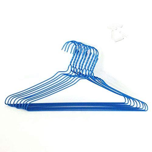 先端保護キャップ付 針金ハンガー 太40cm ブルー 100本組 (キャップ透明付)