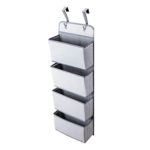Estantes colgantes para colgar bolsa de almacenamiento con 4 bolsillos para puerta, pared trasera, armario, bolsa de almacenamiento, organizador para ropa interior y juguetes (color gris)