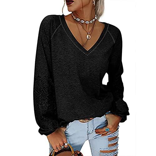 Camiseta OtoñO E Invierno Color SóLido Cobertura Cuello En V Costura Encaje Manga Linterna Camiseta