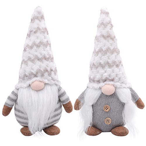 LABOTA 2Pcs Christmas Gnome Plush Handmade Swedish Tomte Christmas Decoration Kids Birthday Present Home Ornaments Tabletop Santa Figurines (Grey - 11 Inches)