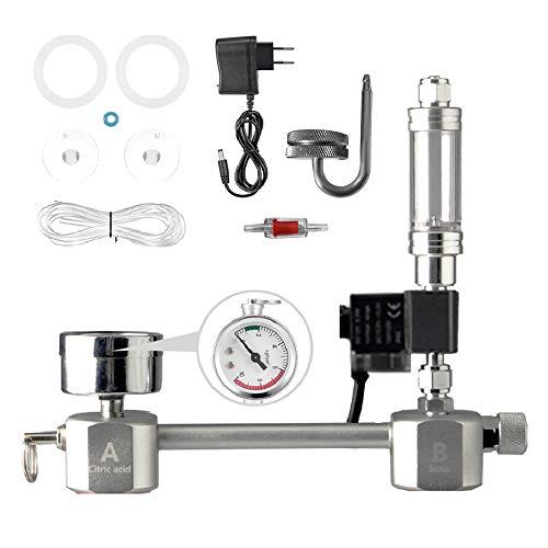 Staright Acuario DIY Kit de Sistema de generador de CO2 Sistema de generador de CO2 con válvula solenoide Difusor de Burbujas Kit de Reactor de dióxido de Carbono para Plantas Acuario
