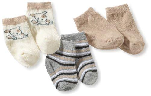 Playshoes Baby-Unisex Erstlingssocken Hündchen, gestreift & Uni, 3er Pack Socken, Braun (original 900), One Size (Herstellergröße: 0-3 Monate)