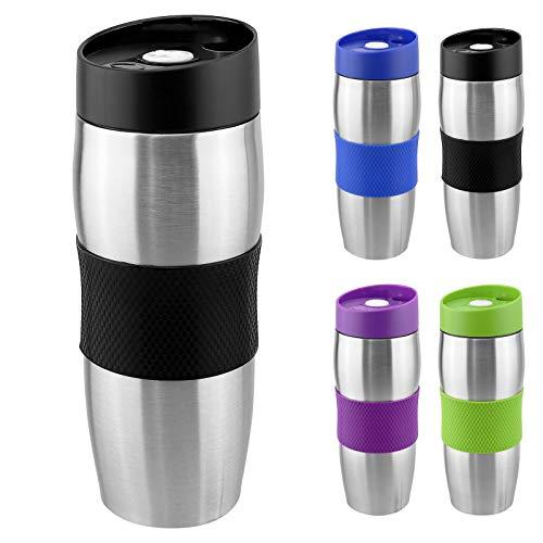 WELLGRO® Thermobecher 380 ml - Edelstahl - BPA-frei - Isolierbecher - Farbe wählbar, Farbe:Schwarz