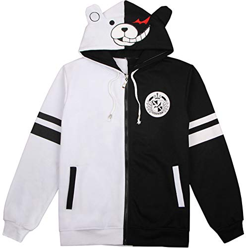 Tinyones Black White Bear Hoodies Jacket Zipper Anime Cosplay Halloween Costume (Black and White 1, M)