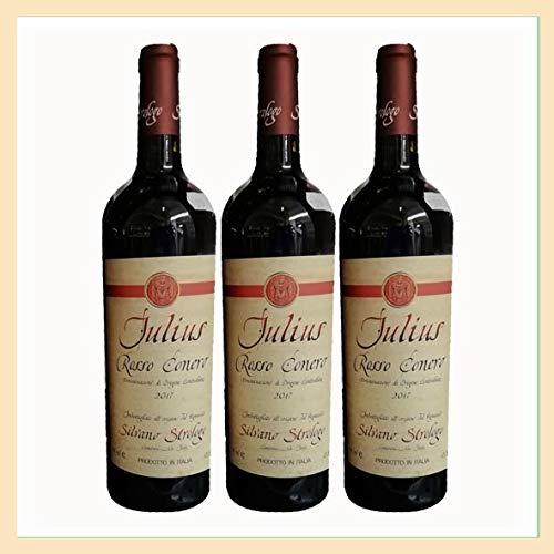 3x Vino Rosso Conero DOC Julius, bottiglia 0,75 lt, Cantina Silvano Strologo, Camerano, Ancona, prodotto tipico marchigiano, Italy