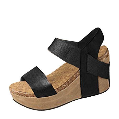 Minetom Femme Mode Sandale Espadrille Lanière Cheville Sandale Talon Compensé Plateforme Femme Été Mode Sandale A Noir EU 34