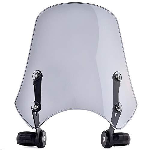 WENYOG Windschild Motorrad Motorradzubehör Windschutzscheiben Windschutzscheibe Flyscreen Windschutzschildschutzweiser Deflektor Motorrad Windschutzscheib (Color : Light Smoke)