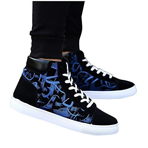 FACAIAFALO Botas Deportivas Hombre Zapatos Planos Para Hombre Zapatos Casuales De Lona Planos Con Parte Superior Alta Zapatillas De Deporte Zapatos Casuales Zapatos Cerrados Con Cordones