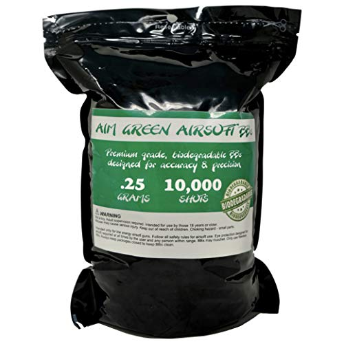 Aim Green: Biodegradable Airsoft BBS .25g - Pellets - 6mm 10,000 Rounds - Smooth Finish BBS