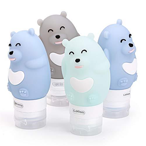 Songlela Set de Botellas de Viaje de Silicona Lindo Oso, Libre de BPA, Reutilizables TSA Aprobó la Botella de Viaje a Prueba de Fugas para Champús, Lociones y Artículos de Tocador, 4 Pack 80ml #3