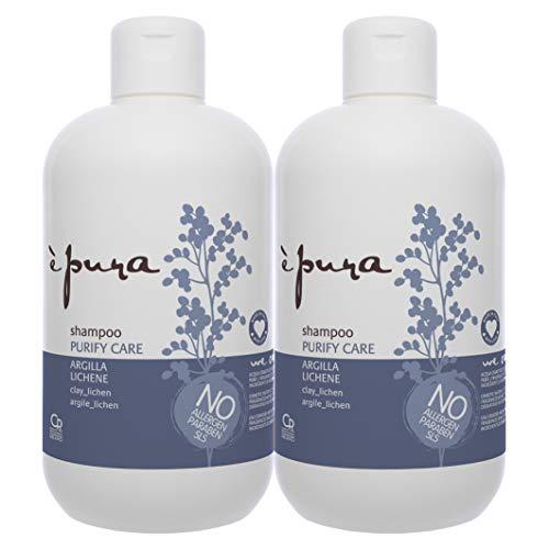 È Pura - Shampoo Purify Care - Trattamento per Capelli Grassi e con Eccesso di Sebo - Detergente con Argilla e Lichene - 2 Confezioni da 500 ml
