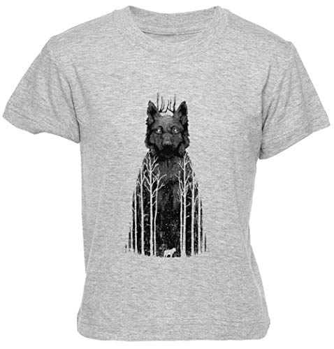 Wolftree Gris Unisexo Niño Niña Camiseta Manga Corta Tamaño S Kids Boys Girls T-Shirt Grey Size S